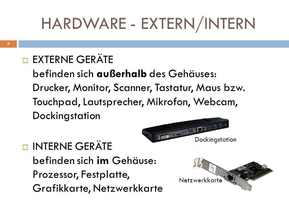 HARDWARE - EXTERN/INTERN EXTERNE GERÄTE befinden sich außerhalb des Gehäuses: Drucker, Monitor, Scanner, Tastatur, Maus bzw. Touchpad, Lautsprecher, M