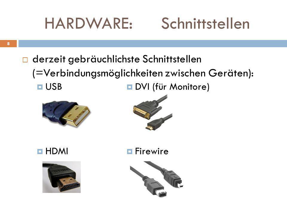 HARDWARE: Schnittstellen derzeit gebräuchlichste Schnittstellen (=Verbindungsmöglichkeiten zwischen Geräten): 8 DVI (für Monitore) Firewire USB HDMI