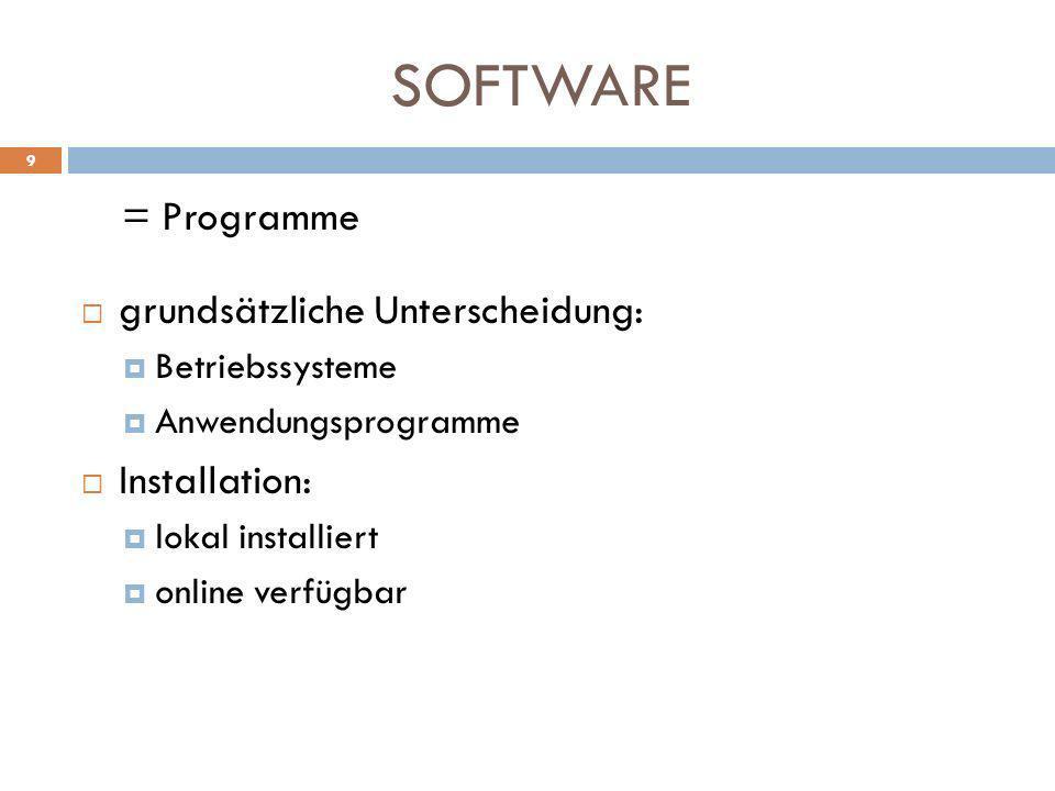 SOFTWARE = Programme grundsätzliche Unterscheidung: Betriebssysteme Anwendungsprogramme Installation: lokal installiert online verfügbar 9
