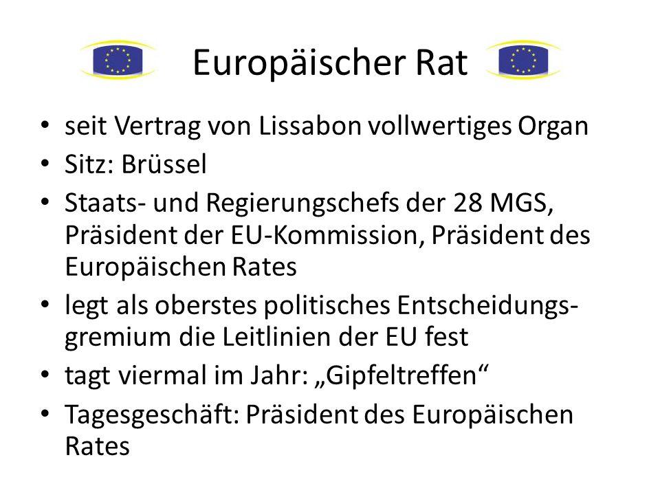 Europäischer Rat seit Vertrag von Lissabon vollwertiges Organ Sitz: Brüssel Staats- und Regierungschefs der 28 MGS, Präsident der EU-Kommission, Präsi