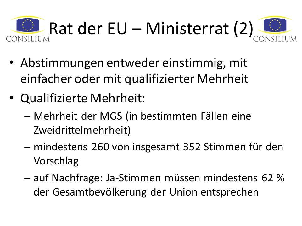 Rat der EU – Ministerrat (2) Abstimmungen entweder einstimmig, mit einfacher oder mit qualifizierter Mehrheit Qualifizierte Mehrheit: Mehrheit der MGS