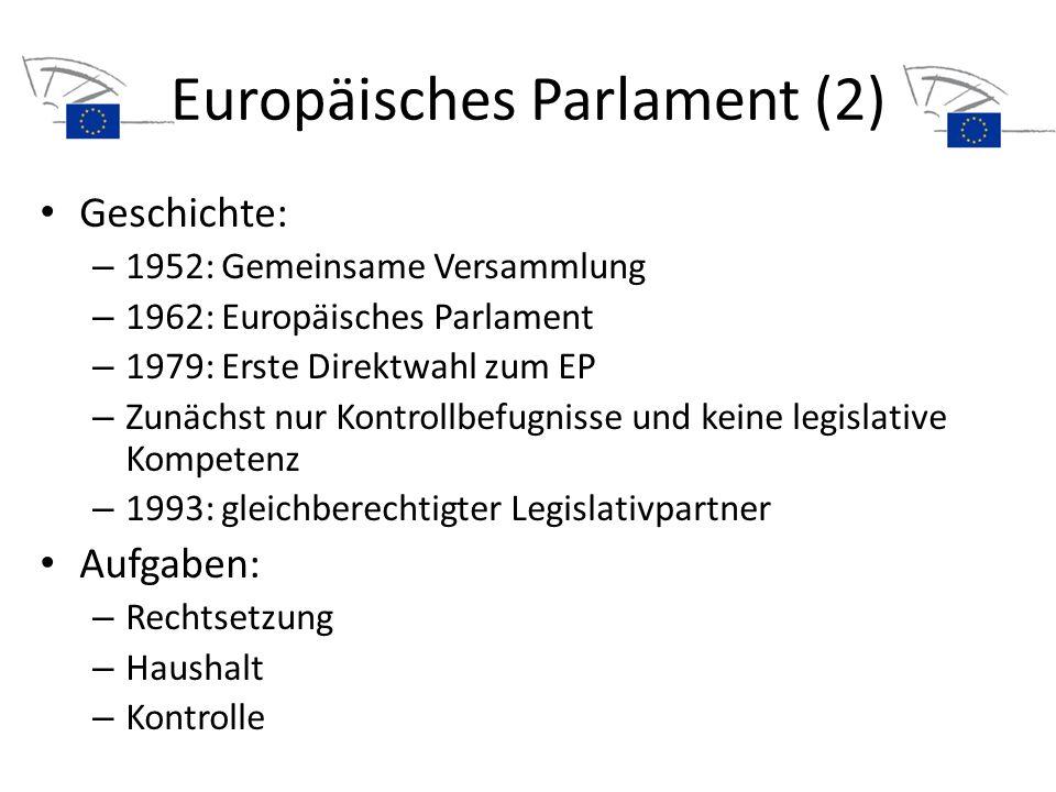 Europäisches Parlament (2) Geschichte: – 1952: Gemeinsame Versammlung – 1962: Europäisches Parlament – 1979: Erste Direktwahl zum EP – Zunächst nur Ko
