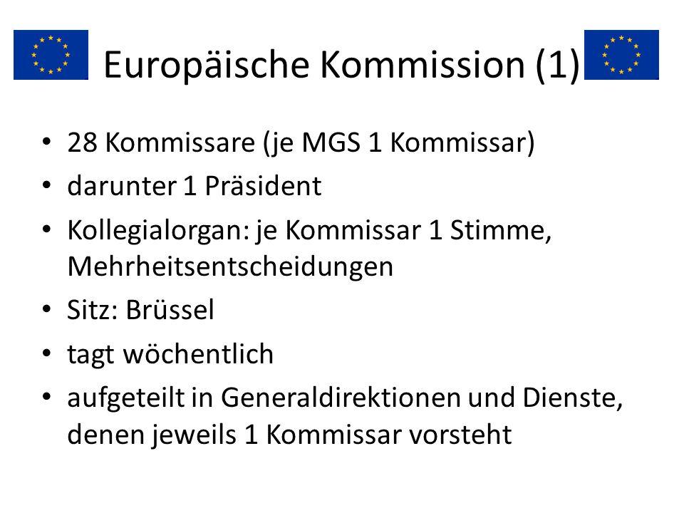Europäische Kommission (1) 28 Kommissare (je MGS 1 Kommissar) darunter 1 Präsident Kollegialorgan: je Kommissar 1 Stimme, Mehrheitsentscheidungen Sitz