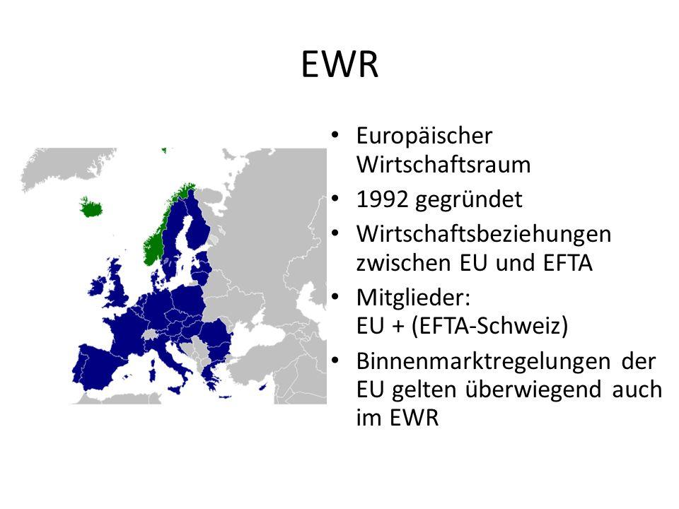 EWR Europäischer Wirtschaftsraum 1992 gegründet Wirtschaftsbeziehungen zwischen EU und EFTA Mitglieder: EU + (EFTA-Schweiz) Binnenmarktregelungen der