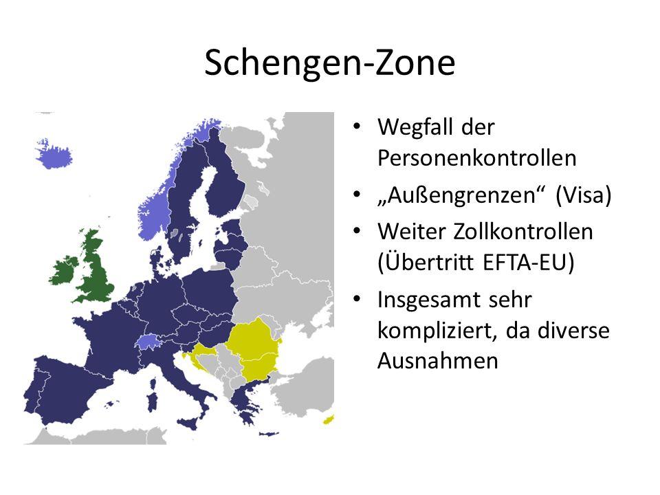 Schengen-Zone Wegfall der Personenkontrollen Außengrenzen (Visa) Weiter Zollkontrollen (Übertritt EFTA-EU) Insgesamt sehr kompliziert, da diverse Ausn