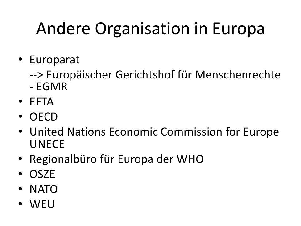Andere Organisation in Europa Europarat --> Europäischer Gerichtshof für Menschenrechte - EGMR EFTA OECD United Nations Economic Commission for Europe