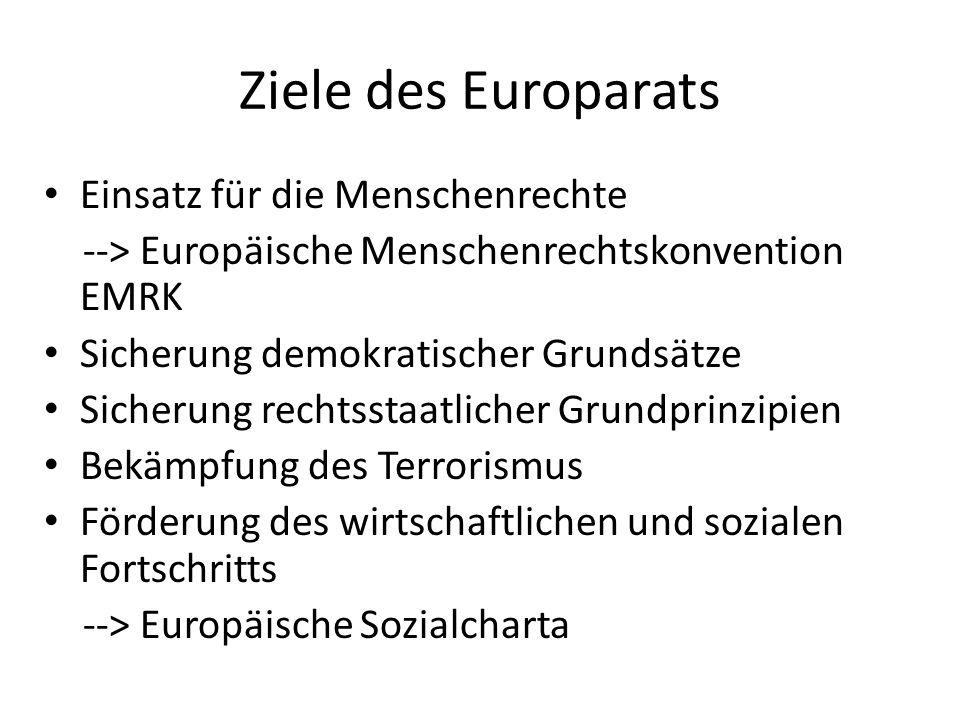 Ziele des Europarats Einsatz für die Menschenrechte --> Europäische Menschenrechtskonvention EMRK Sicherung demokratischer Grundsätze Sicherung rechts