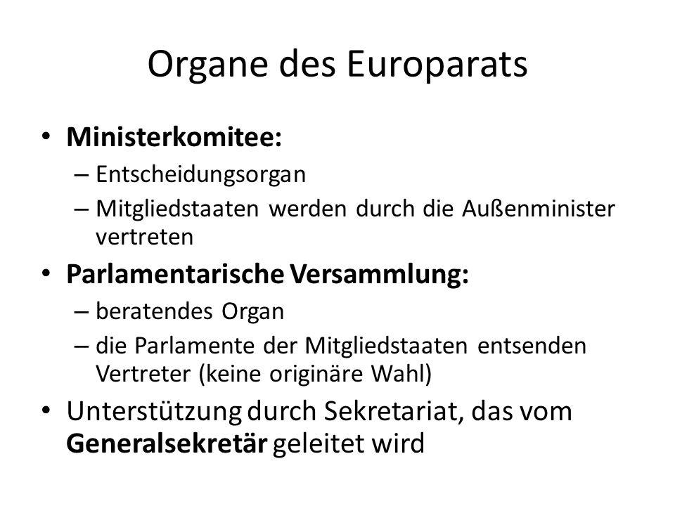 Organe des Europarats Ministerkomitee: – Entscheidungsorgan – Mitgliedstaaten werden durch die Außenminister vertreten Parlamentarische Versammlung: –