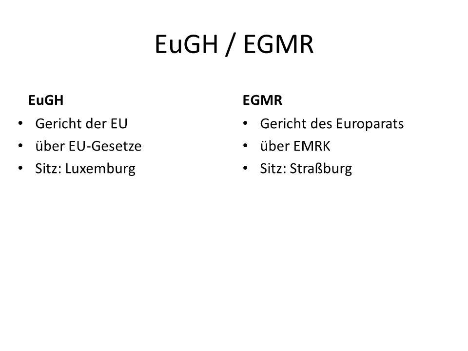 EuGH / EGMR EuGH Gericht der EU über EU-Gesetze Sitz: Luxemburg EGMR Gericht des Europarats über EMRK Sitz: Straßburg