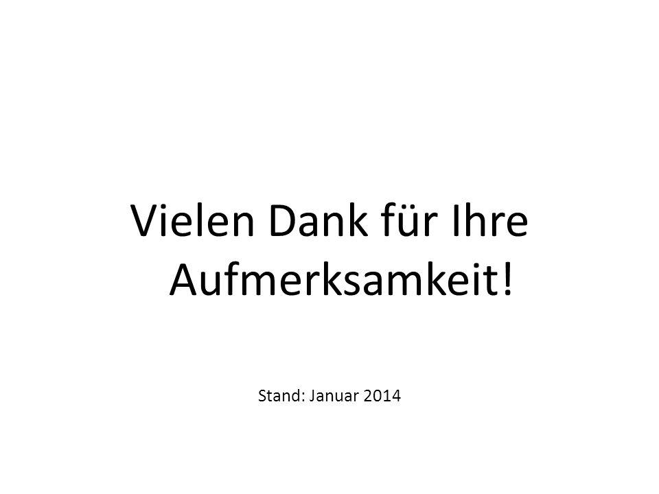 Vielen Dank für Ihre Aufmerksamkeit! Stand: Januar 2014