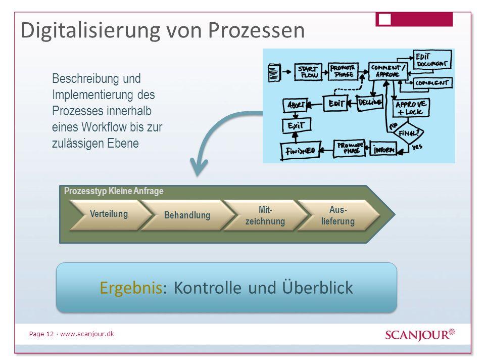 Page 12 · www.scanjour.dk Digitalisierung von Prozessen Verteilung Behandlung Mit- zeichnung Aus- lieferung Prozesstyp Kleine Anfrage Beschreibung und