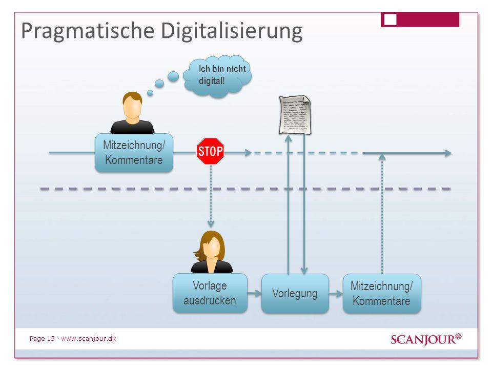 Page 15 · www.scanjour.dk Pragmatische Digitalisierung Mitzeichnung/ Kommentare Vorlage ausdrucken Ich bin nicht digital! Vorlegung Mitzeichnung/ Komm