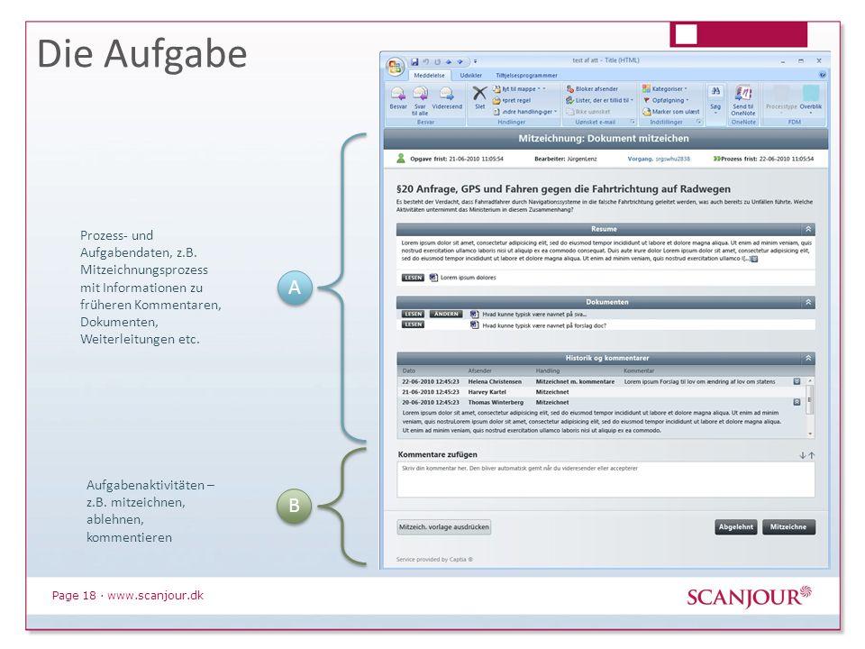 Page 18 · www.scanjour.dk Die Aufgabe A A B B Aufgabenaktivitäten – z.B. mitzeichnen, ablehnen, kommentieren Prozess- und Aufgabendaten, z.B. Mitzeich