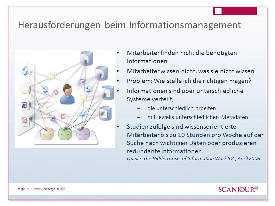 Page 22 · www.scanjour.dk Mitarbeiter finden nicht die benötigten Informationen Mitarbeiter wissen nicht, was sie nicht wissen Problem: Wie stelle ich