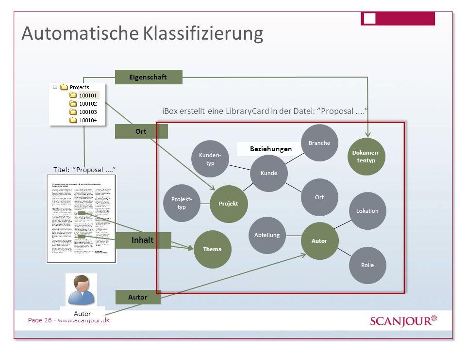 Page 26 · www.scanjour.dk Beziehungen Automatische Klassifizierung IBOX Kunden- typ Branche Ort Titel: Proposal.... Projekt- typ Abteilung Kunde Lokat