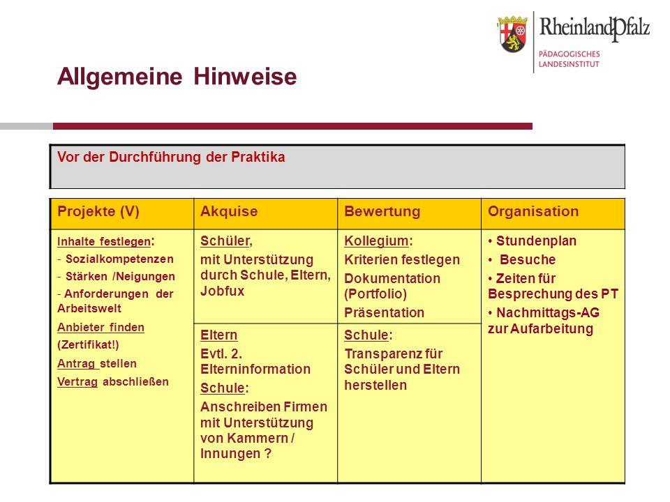 Allgemeine Hinweise Vor der Durchführung der Praktika Projekte (V)AkquiseBewertungOrganisation Inhalte festlegen : - Sozialkompetenzen - Stärken /Neig