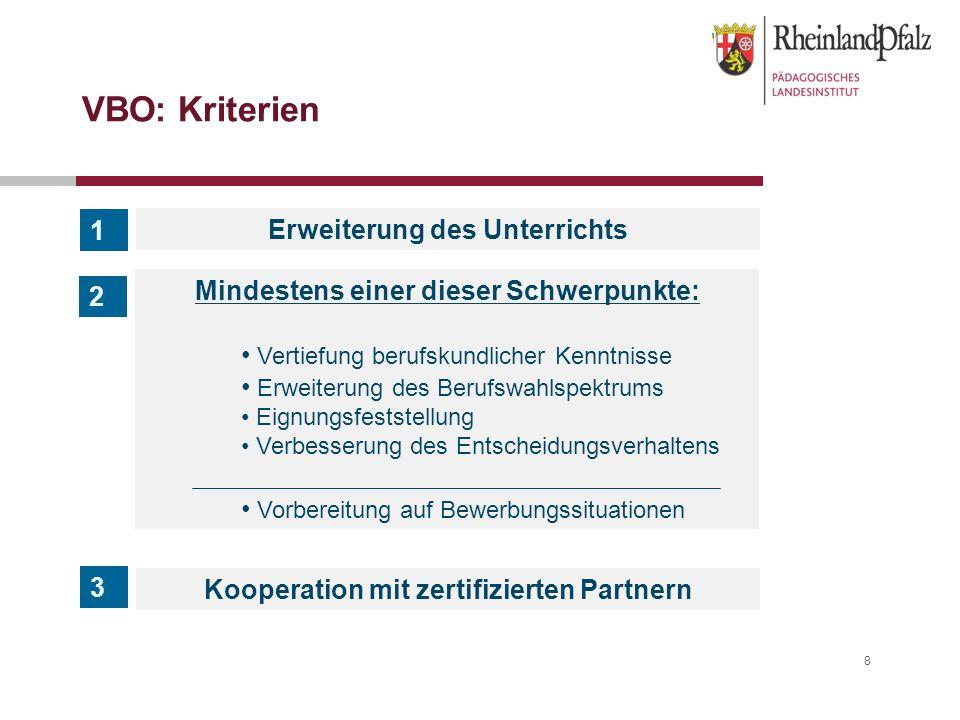 8 VBO: Kriterien Erweiterung des Unterrichts Kooperation mit zertifizierten Partnern 1 3 2 Mindestens einer dieser Schwerpunkte: Vertiefung berufskund