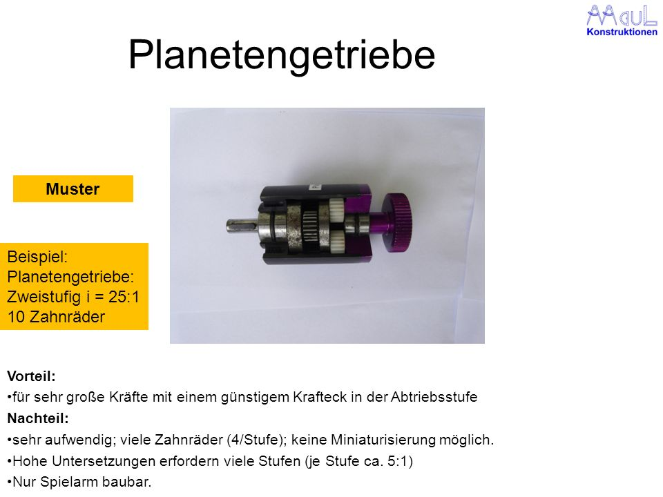 Planetengetriebe Vorteil: für sehr große Kräfte mit einem günstigem Krafteck in der Abtriebsstufe Nachteil: sehr aufwendig; viele Zahnräder (4/Stufe);