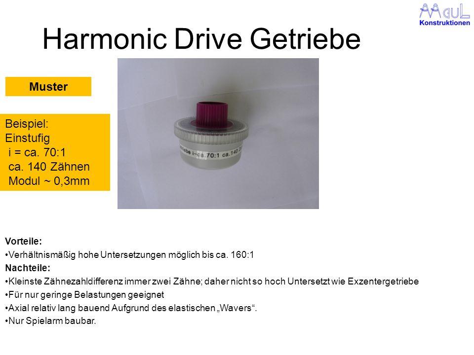 Harmonic Drive Getriebe Vorteile: Verhältnismäßig hohe Untersetzungen möglich bis ca. 160:1 Nachteile: Kleinste Zähnezahldifferenz immer zwei Zähne; d