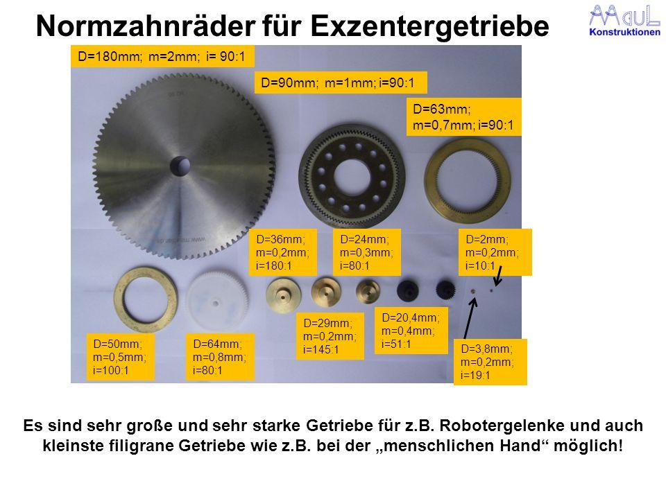 Normzahnräder für Exzentergetriebe Es sind sehr große und sehr starke Getriebe für z.B. Robotergelenke und auch kleinste filigrane Getriebe wie z.B. b