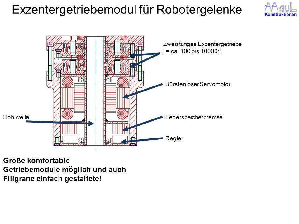 Exzentergetriebemodul für Robotergelenke Große komfortable Getriebemodule möglich und auch Filigrane einfach gestaltete! Zweistufiges Exzentergetriebe