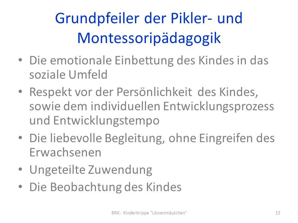 Grundpfeiler der Pikler- und Montessoripädagogik Die emotionale Einbettung des Kindes in das soziale Umfeld Respekt vor der Persönlichkeit des Kindes,