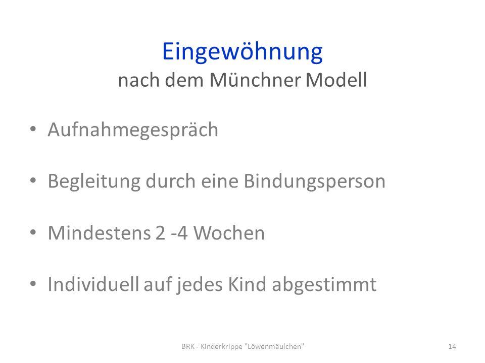 Eingewöhnung nach dem Münchner Modell Aufnahmegespräch Begleitung durch eine Bindungsperson Mindestens 2 -4 Wochen Individuell auf jedes Kind abgestim