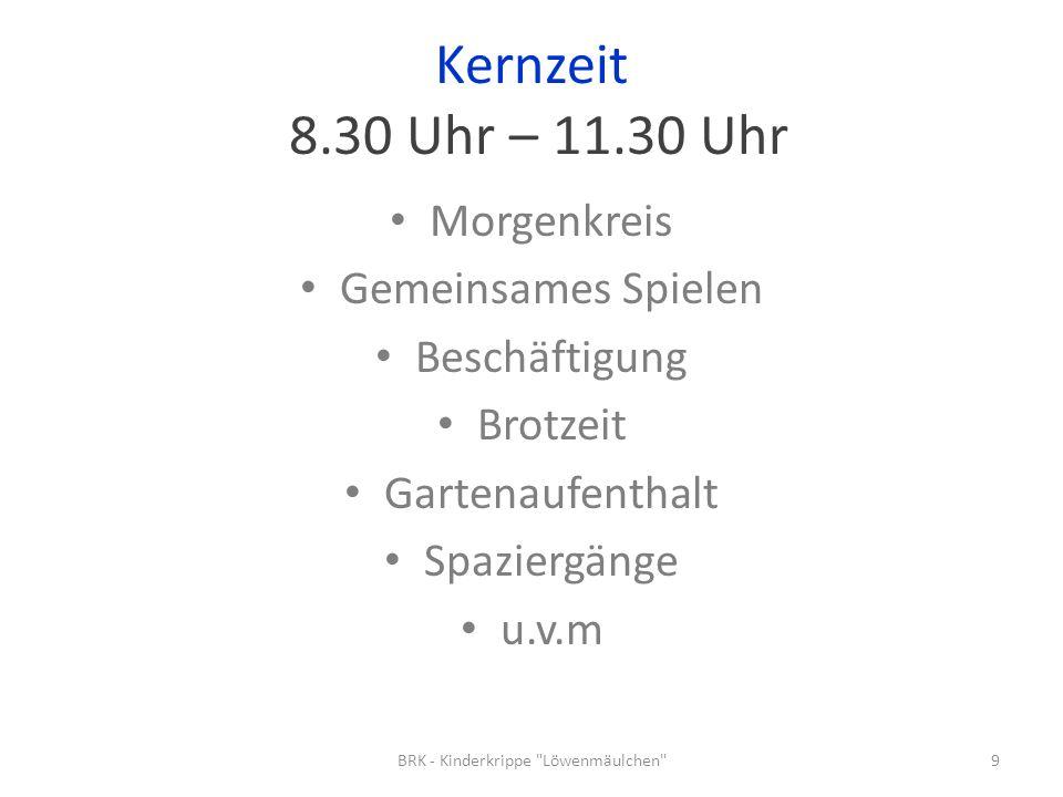 Kernzeit 8.30 Uhr – 11.30 Uhr Morgenkreis Gemeinsames Spielen Beschäftigung Brotzeit Gartenaufenthalt Spaziergänge u.v.m 9BRK - Kinderkrippe