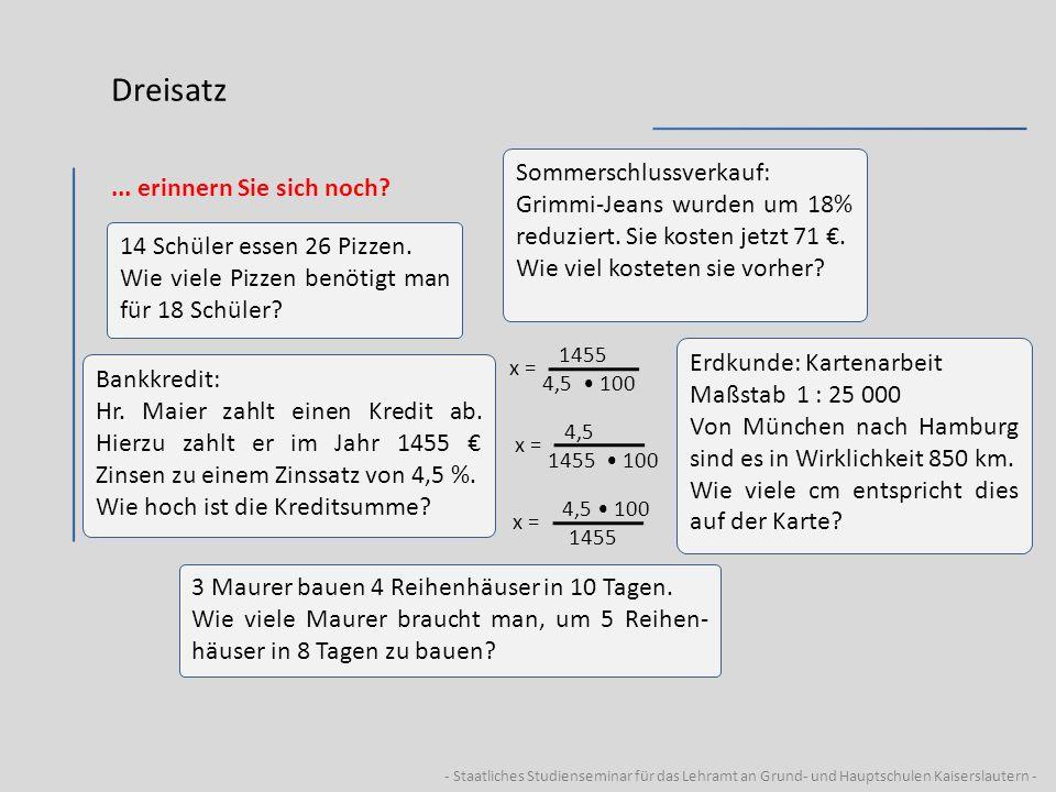 - Staatliches Studienseminar für das Lehramt an Grund- und Hauptschulen Kaiserslautern - Dreisatz...