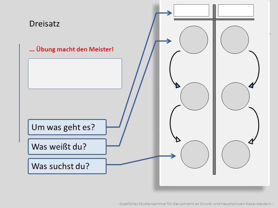- Staatliches Studienseminar für das Lehramt an Grund- und Hauptschulen Kaiserslautern - Dreisatz... Übung macht den Meister! Um was geht es? Was weiß
