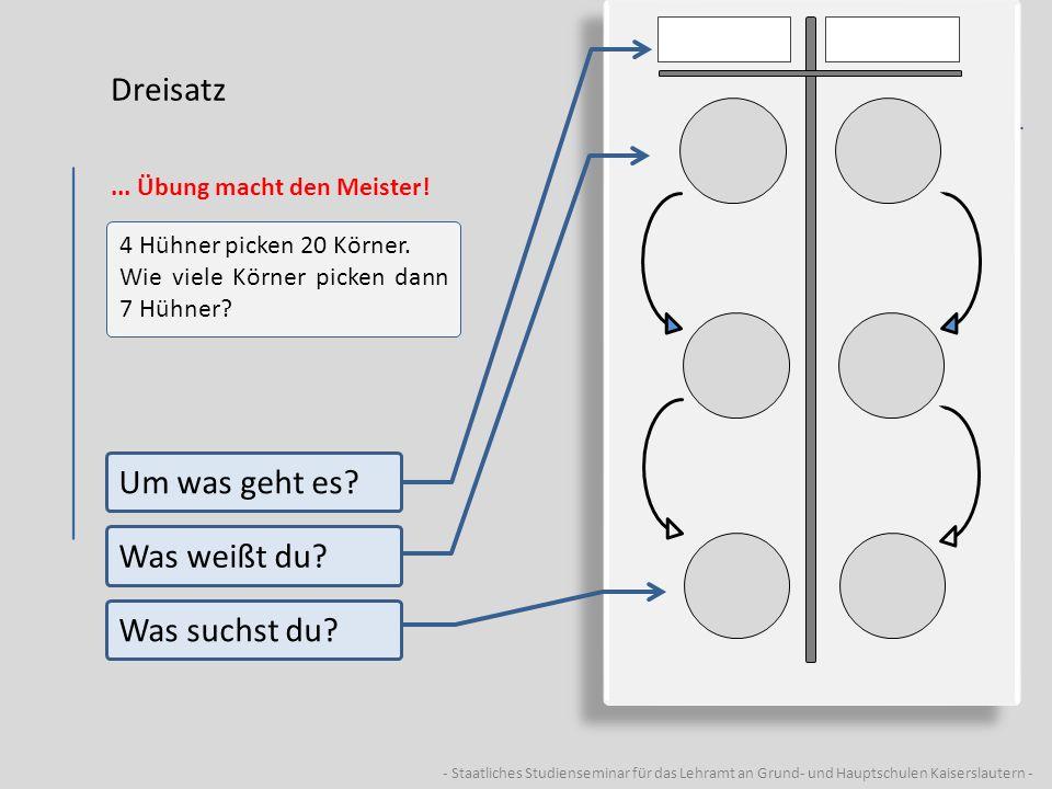 - Staatliches Studienseminar für das Lehramt an Grund- und Hauptschulen Kaiserslautern - Dreisatz... Übung macht den Meister! 4 Hühner picken 20 Körne