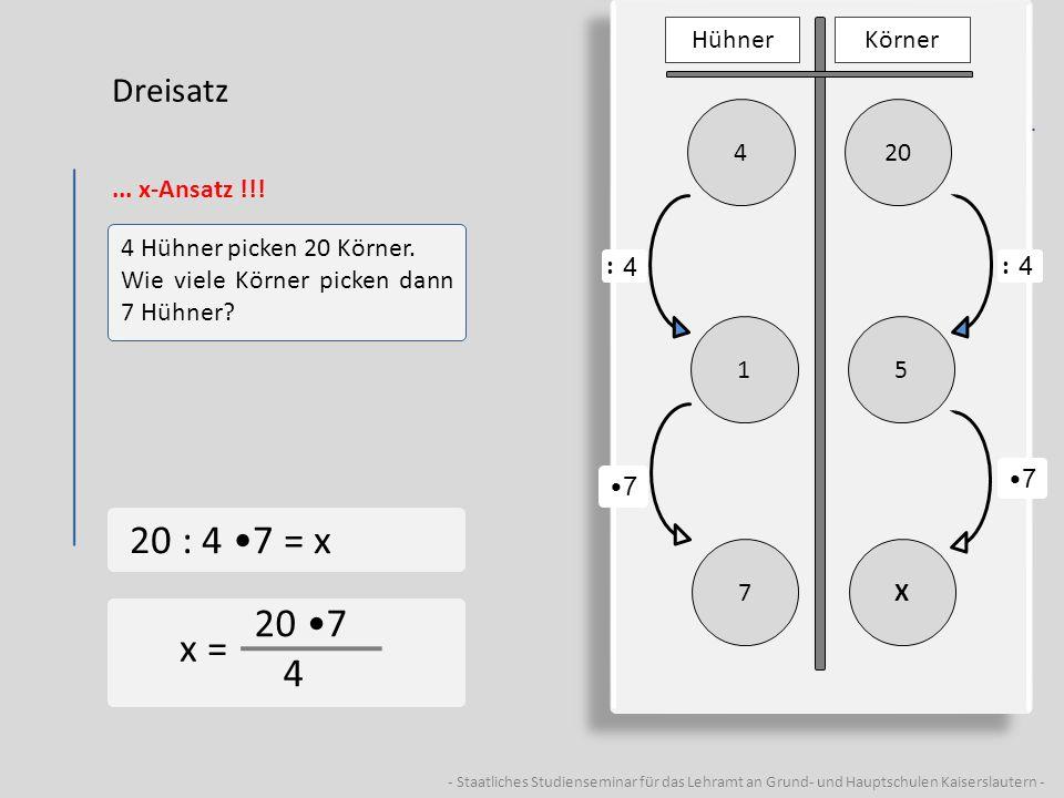 - Staatliches Studienseminar für das Lehramt an Grund- und Hauptschulen Kaiserslautern - Dreisatz... x-Ansatz !!! 4 Hühner picken 20 Körner. Wie viele