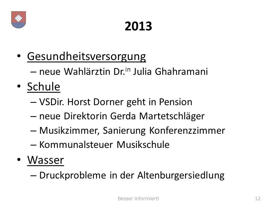 2013 Gesundheitsversorgung – neue Wahlärztin Dr. in Julia Ghahramani Schule – VSDir. Horst Dorner geht in Pension – neue Direktorin Gerda Martetschläg