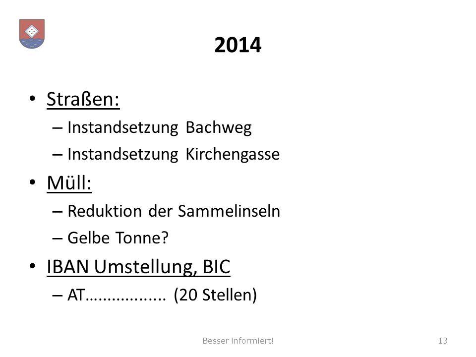 2014 Straßen: – Instandsetzung Bachweg – Instandsetzung Kirchengasse Müll: – Reduktion der Sammelinseln – Gelbe Tonne? IBAN Umstellung, BIC – AT….....