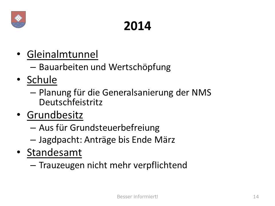2014 Gleinalmtunnel – Bauarbeiten und Wertschöpfung Schule – Planung für die Generalsanierung der NMS Deutschfeistritz Grundbesitz – Aus für Grundsteu