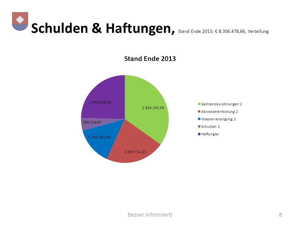 Schulden & Haftungen, Stand Ende 2013: 8.306.478,66, Verteilung 8Besser informiert!