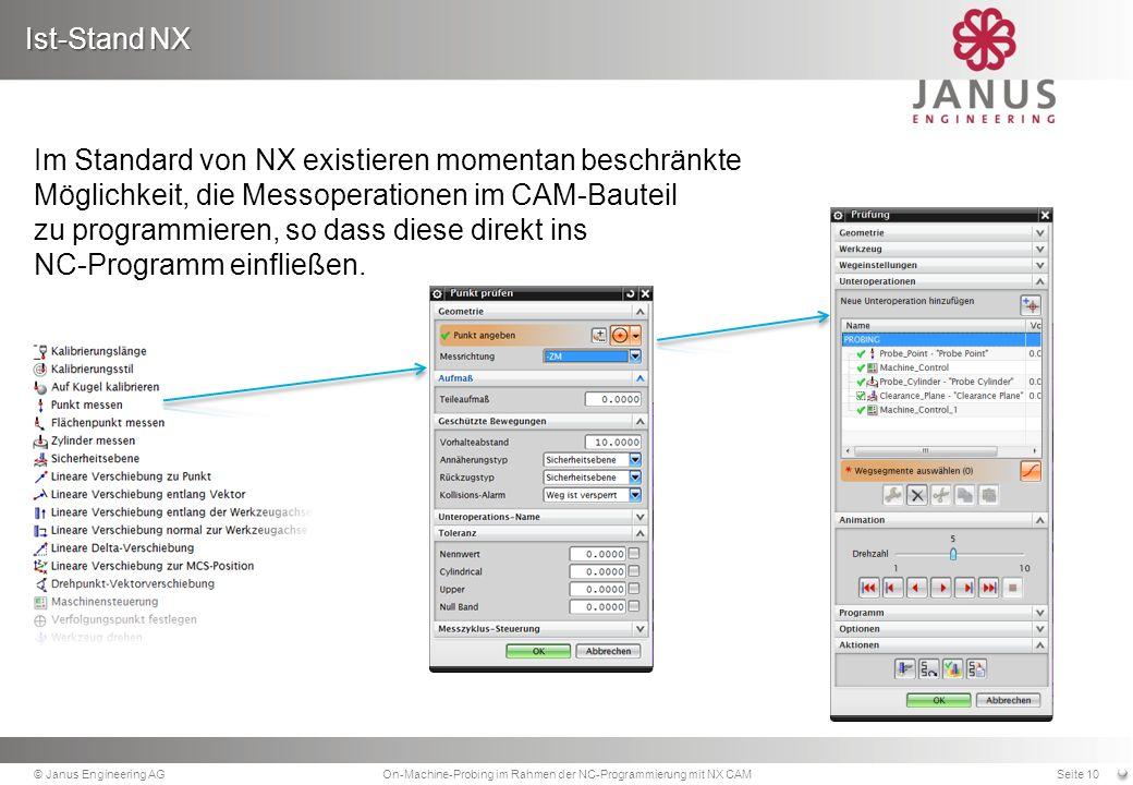Im Standard von NX existieren momentan beschränkte Möglichkeit, die Messoperationen im CAM-Bauteil zu programmieren, so dass diese direkt ins NC-Programm einfließen.