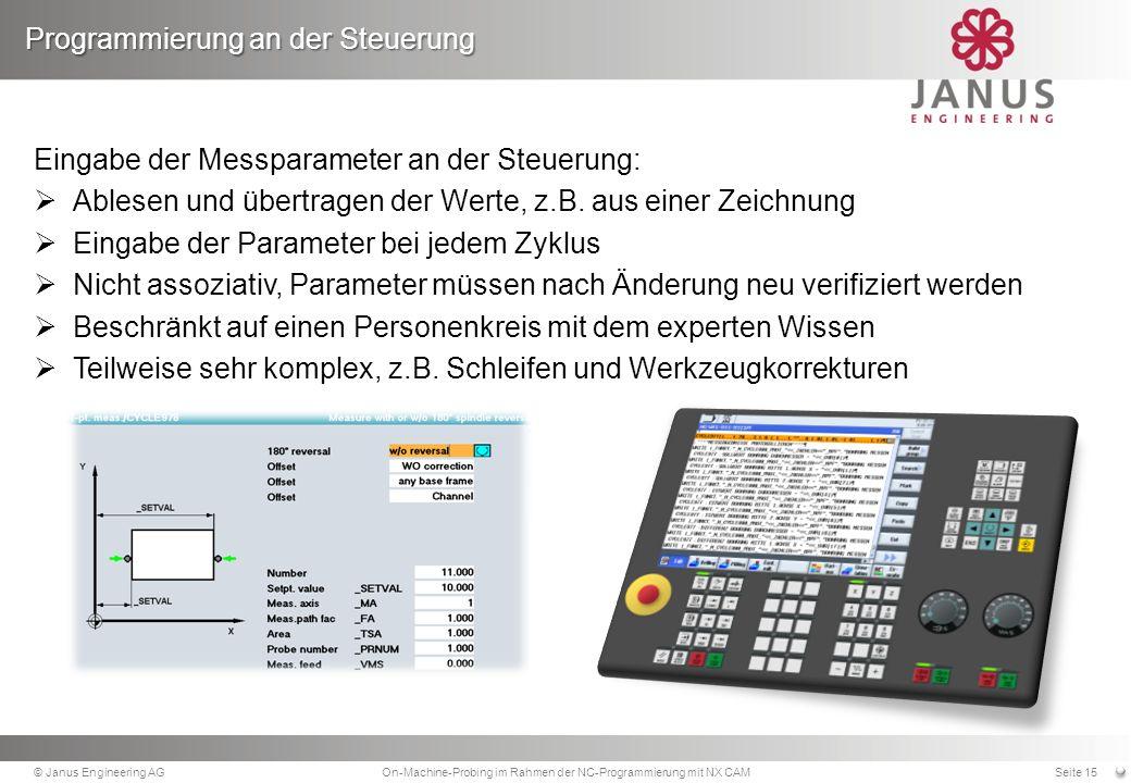 Eingabe der Messparameter an der Steuerung: Ablesen und übertragen der Werte, z.B.