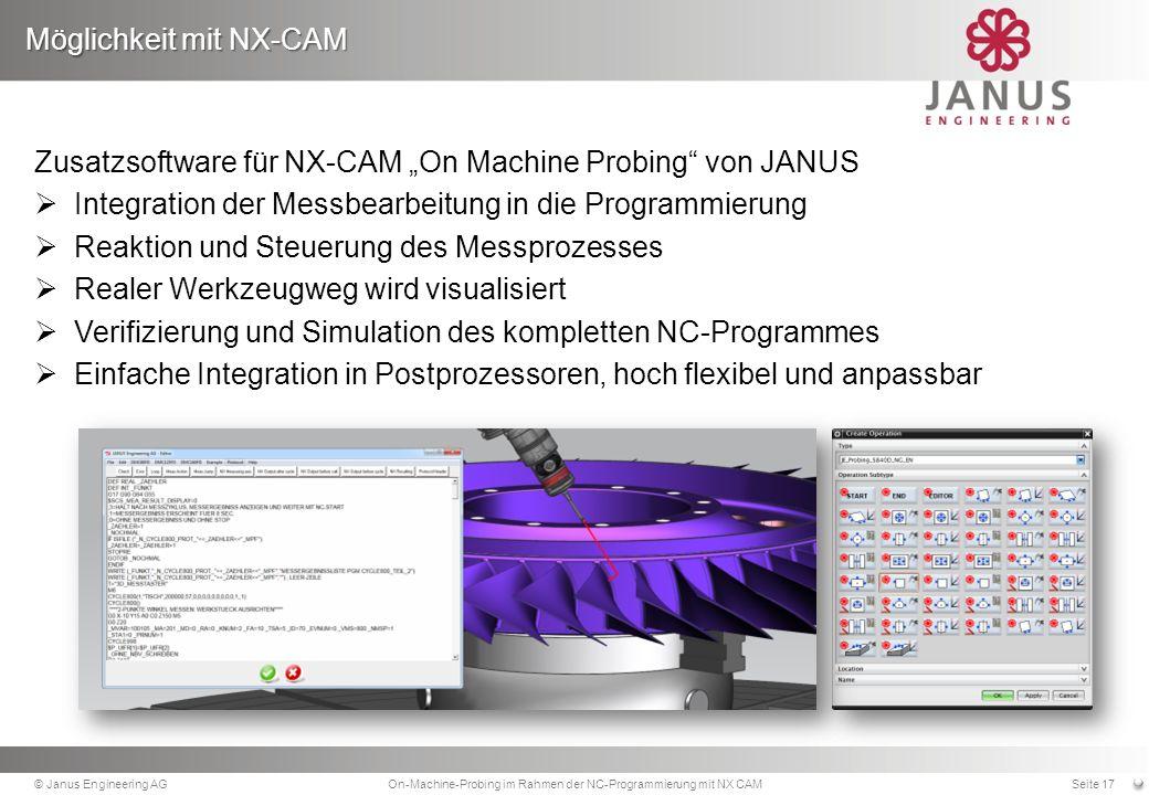 Zusatzsoftware für NX-CAM On Machine Probing von JANUS Integration der Messbearbeitung in die Programmierung Reaktion und Steuerung des Messprozesses Realer Werkzeugweg wird visualisiert Verifizierung und Simulation des kompletten NC-Programmes Einfache Integration in Postprozessoren, hoch flexibel und anpassbar Möglichkeit mit NX-CAM © Janus Engineering AGOn-Machine-Probing im Rahmen der NC-Programmierung mit NX CAMSeite 17