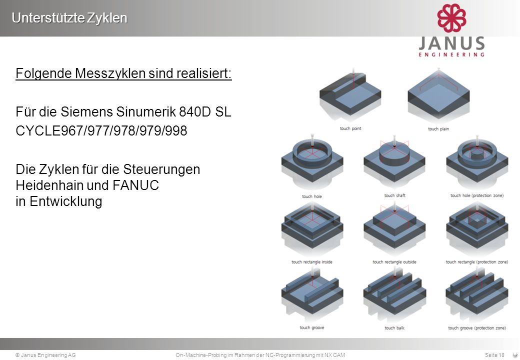 Folgende Messzyklen sind realisiert: Für die Siemens Sinumerik 840D SL CYCLE967/977/978/979/998 Die Zyklen für die Steuerungen Heidenhain und FANUC in Entwicklung Unterstützte Zyklen © Janus Engineering AGOn-Machine-Probing im Rahmen der NC-Programmierung mit NX CAMSeite 18