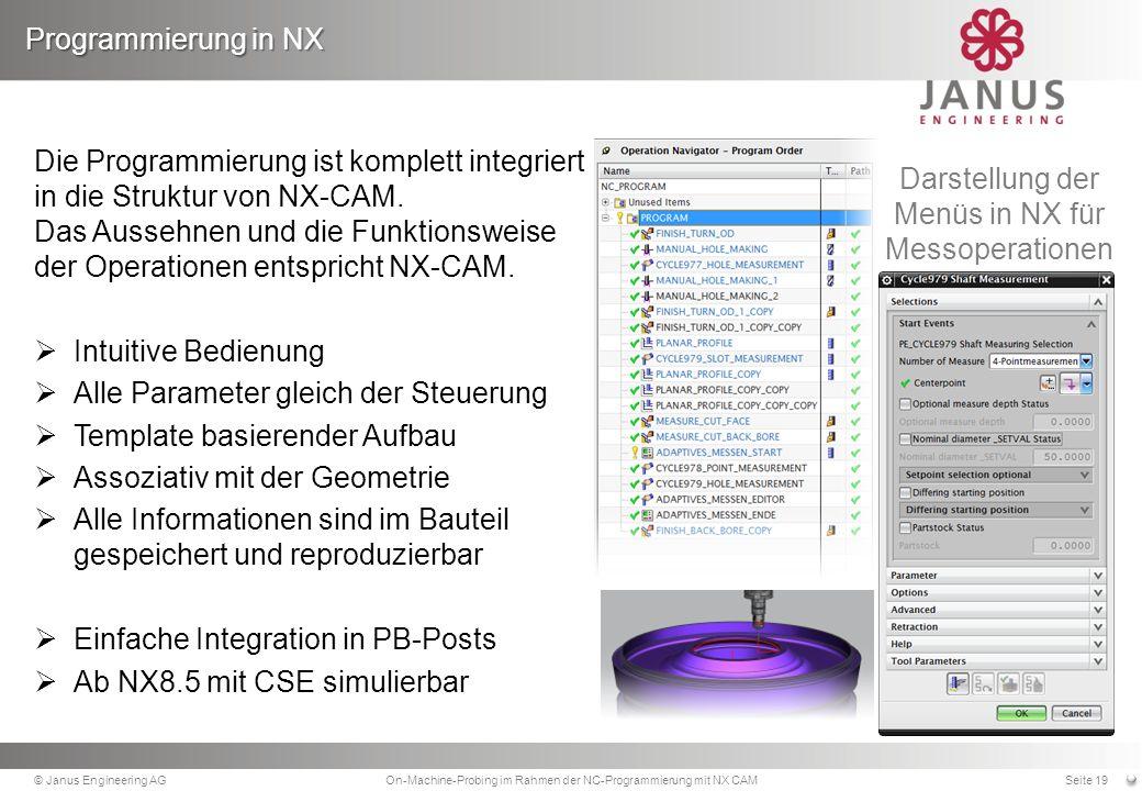 Die Programmierung ist komplett integriert in die Struktur von NX-CAM.