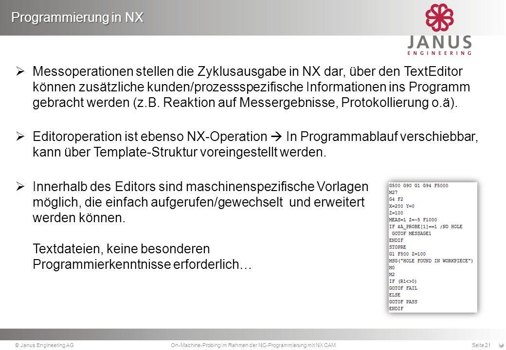 Messoperationen stellen die Zyklusausgabe in NX dar, über den TextEditor können zusätzliche kunden/prozessspezifische Informationen ins Programm gebracht werden (z.B.