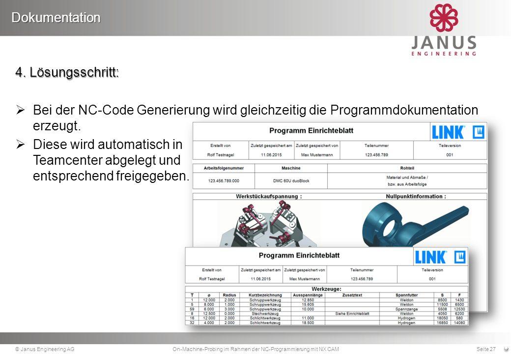 4.Lösungsschritt: Bei der NC-Code Generierung wird gleichzeitig die Programmdokumentation erzeugt.