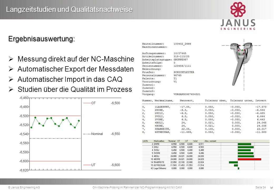 Langzeitstudien und Qualitätsnachweise © Janus Engineering AGOn-Machine-Probing im Rahmen der NC-Programmierung mit NX CAMSeite 34 Ergebnisauswertung: Messung direkt auf der NC-Maschine Automatischer Export der Messdaten Automatischer Import in das CAQ Studien über die Qualität im Prozess