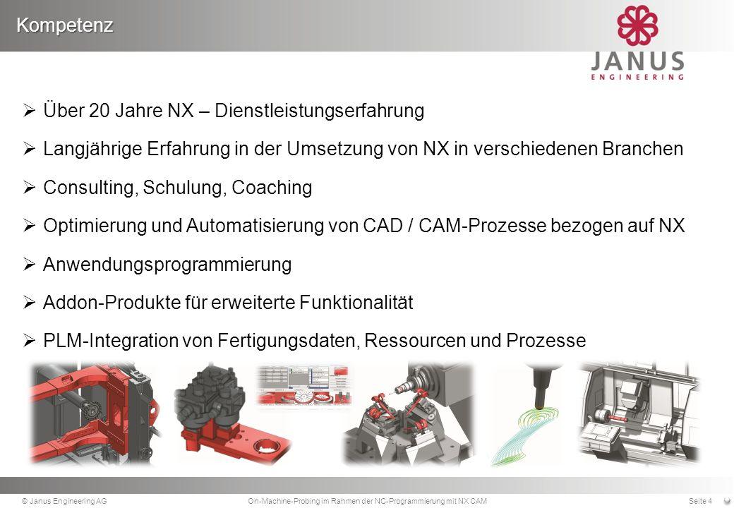 Kompetenz © Janus Engineering AGOn-Machine-Probing im Rahmen der NC-Programmierung mit NX CAMSeite 4 Über 20 Jahre NX – Dienstleistungserfahrung Langjährige Erfahrung in der Umsetzung von NX in verschiedenen Branchen Consulting, Schulung, Coaching Optimierung und Automatisierung von CAD / CAM-Prozesse bezogen auf NX Anwendungsprogrammierung Addon-Produkte für erweiterte Funktionalität PLM-Integration von Fertigungsdaten, Ressourcen und Prozesse