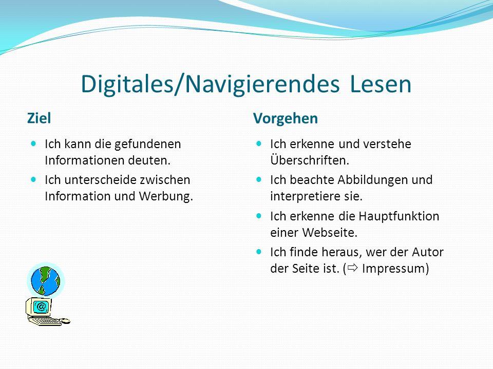 Digitales/Navigierendes Lesen Ziel Vorgehen Ich kann die gefundenen Informationen deuten. Ich unterscheide zwischen Information und Werbung. Ich erken