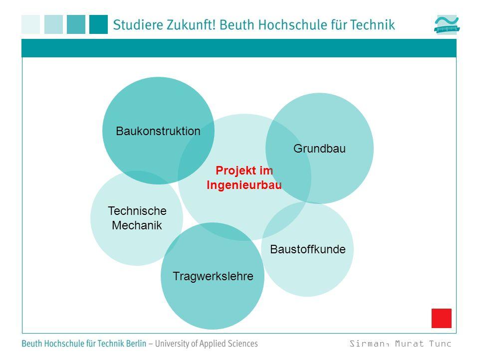 Projekt im Ingenieurbau Baukonstruktion Tragwerkslehre Grundbau Baustoffkunde Technische Mechanik Sirman, Murat Tunc