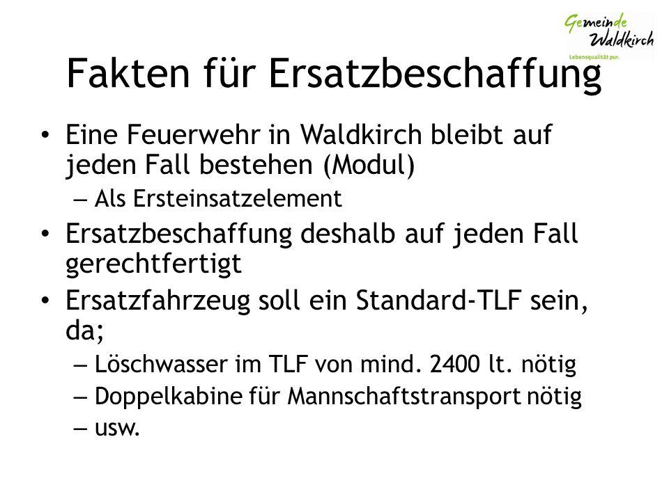 Fakten für Ersatzbeschaffung Eine Feuerwehr in Waldkirch bleibt auf jeden Fall bestehen (Modul) – Als Ersteinsatzelement Ersatzbeschaffung deshalb auf jeden Fall gerechtfertigt Ersatzfahrzeug soll ein Standard-TLF sein, da; – Löschwasser im TLF von mind.