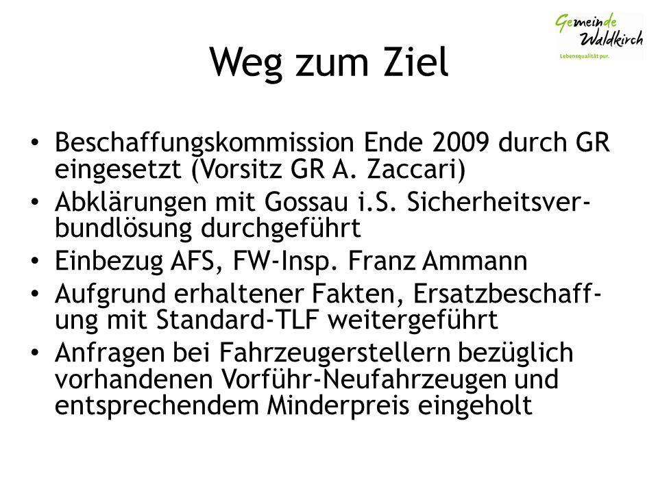 Weg zum Ziel Beschaffungskommission Ende 2009 durch GR eingesetzt (Vorsitz GR A.