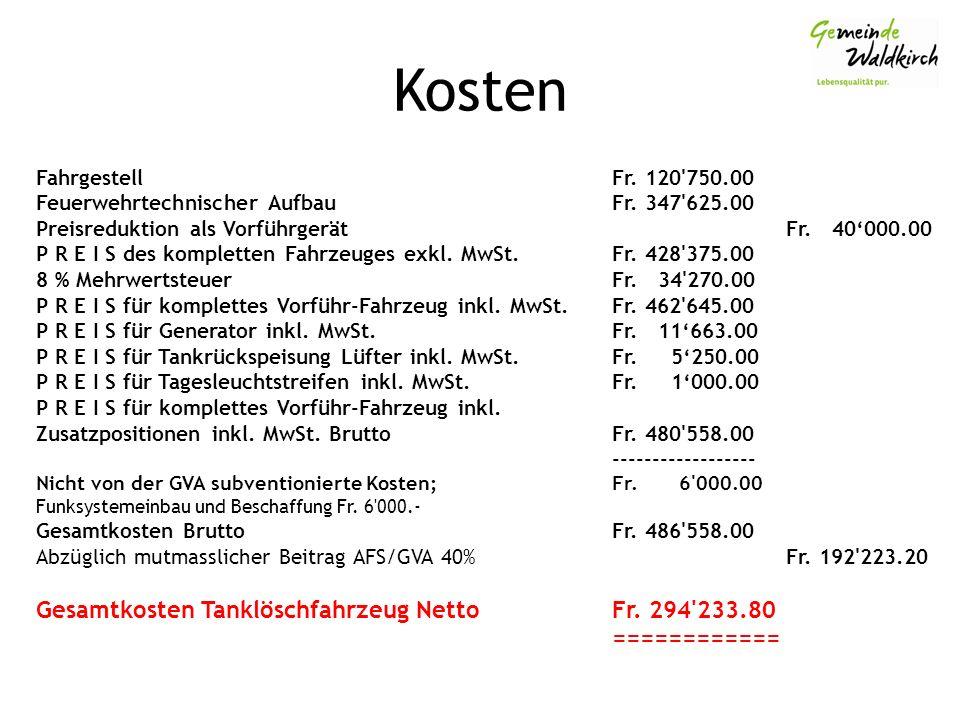 Kosten FahrgestellFr. 120 750.00 Feuerwehrtechnischer AufbauFr.